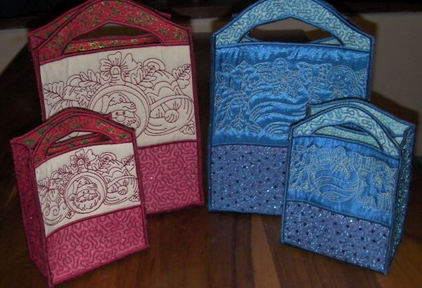A set of gift bags done on the embroidery machine, released just in time for Christmas! Designs available in two sizes. Created by JHB Creations and design available for purchase from OPW Mall http://www.oregonpatchworks.com/items.php?did=113482&pid=1600247