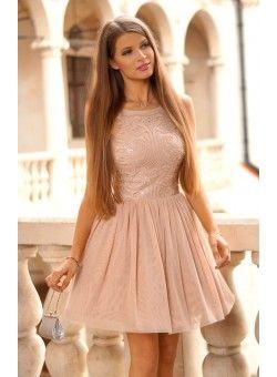 Tiulowa sukienka z cekinową górą nude  349 zł  Tulle nude prom dress