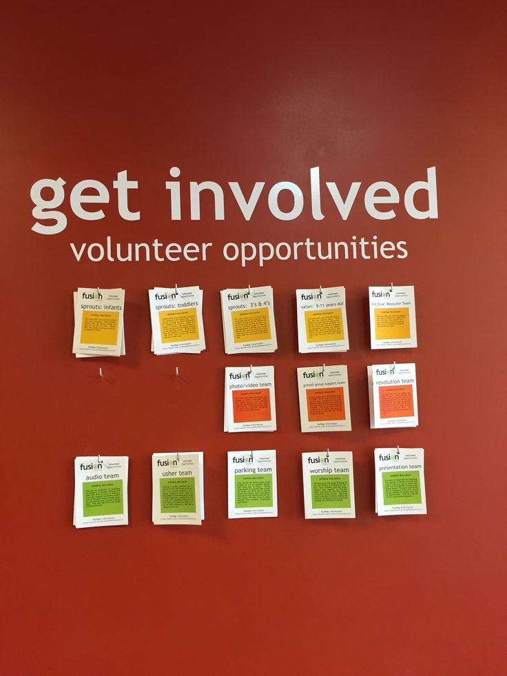 Here's picture from Fusion Church where Pastor Tony McCollum is the pastor. It's a simple wall display with current volunteer opportunities. People can browse and take a card with more information. It's a simple way to provide pressure-free opportunities for people to get connected year round.