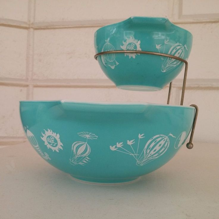 Vintage Pyrex Turquoise Teal Hot Air Balloon Chip and Dip Set with Bracket #Pyrex