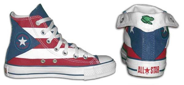 Chuck Taylor Puerto Rican flag foldover high tops, inside patch and rear foldover
