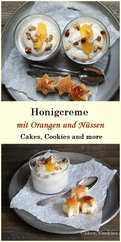 Rezept für Honigcreme mit Zimt, Orangen und Blätterteigsterne #honig #dessert #honigcreme #blätterteig