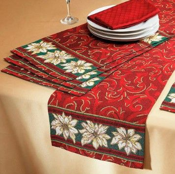 Poinsettia Tapestry Table Runner and Placemats from Lillian Vernon.  Luxurious poinsettia tapestry linens bring a sophisticated elegance to your table! Exquisite design ensures festive holiday style at all your meals!  Get your rebate from RebateGiant.