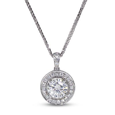 """ALAYEH Prod Code: P0247  """"Alayeh"""" Pendant Pave halo with stones on bail 6.5mm Round Brilliant Moissanite, 1.00ct  23 x 1.3mm Round Brilliant Moissanite, 0.23tcw 1.23 total carats  Price: $1,170.00"""