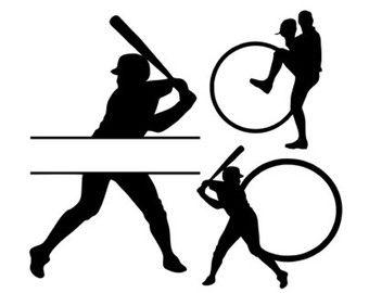 baseball bats monogram frames svg dxf file instant