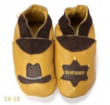 chaussons bébé cuir souple sheriff Western