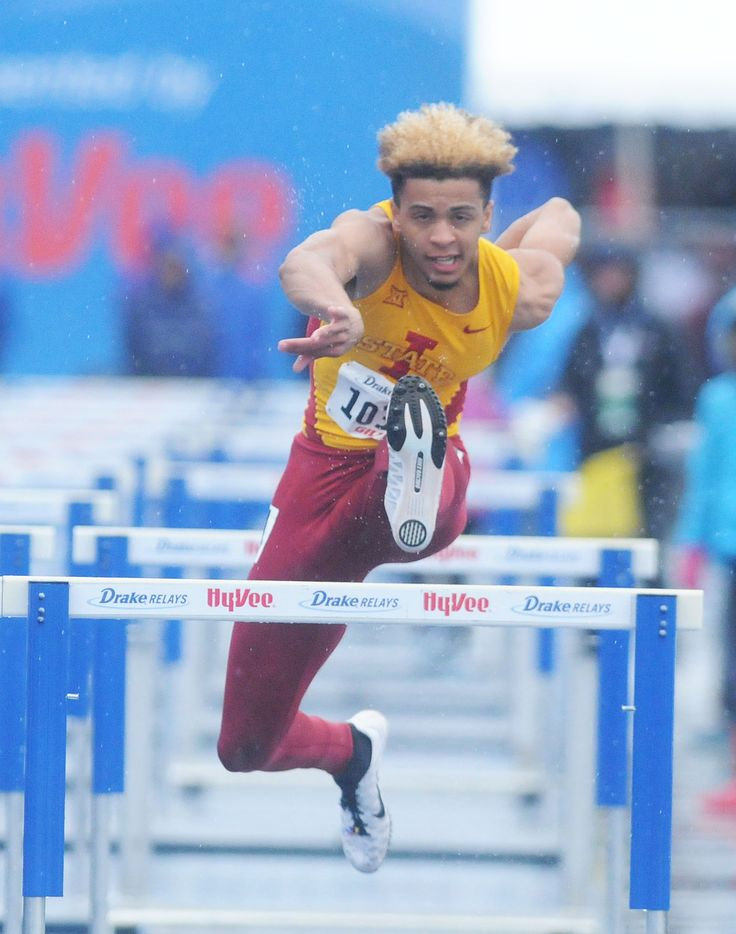 Iowa State's Elijah Young clears a hurdle during the university men's 110-meter high hurdles at the Drake Relays on Friday at Drake Stadium in Des Moines. Photo by Nirmalendu Majumdar/Ames Tribune http://www.amestrib.com/sports/drake-relays-isu-s-luque-takes-second-long-jump