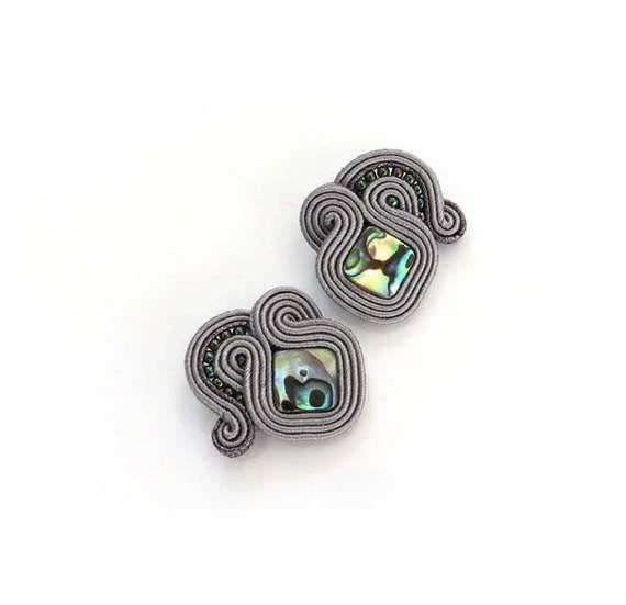 Clip on small grey earstuds gray studs earrings by sutaszula