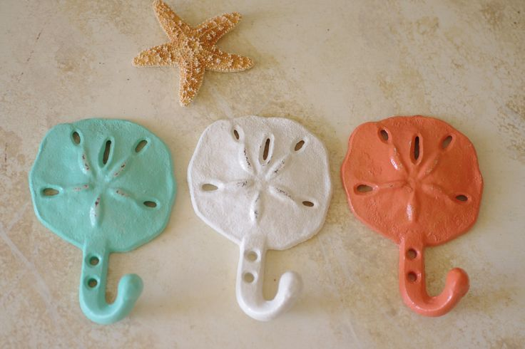 Beach Decor Cast Iron Sand Dollar Wall Hooks  - PICK YOUR COLOR.