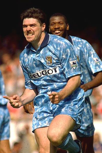 Micky Quinn celebrates a hat-trick for Coventry against Arsenal 14th August 1993.
