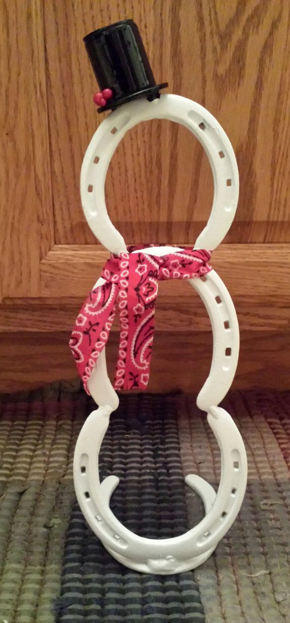 Horseshoe Snowman by LuckyIronWorks on Etsy