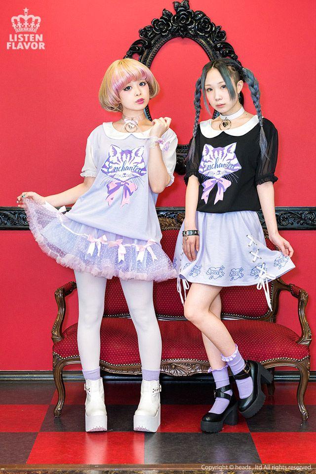listen-f | Rakuten Global Market: KERA system Zipper system blue letter system individuality group fashion of Harajuku that ribbon cat sleeve chiffon puff sleeve cut-and-sew ◆ ListenFlavor (リッスンフレーバー) Gurley pop punk rock Gothic Lolita has a cute origin