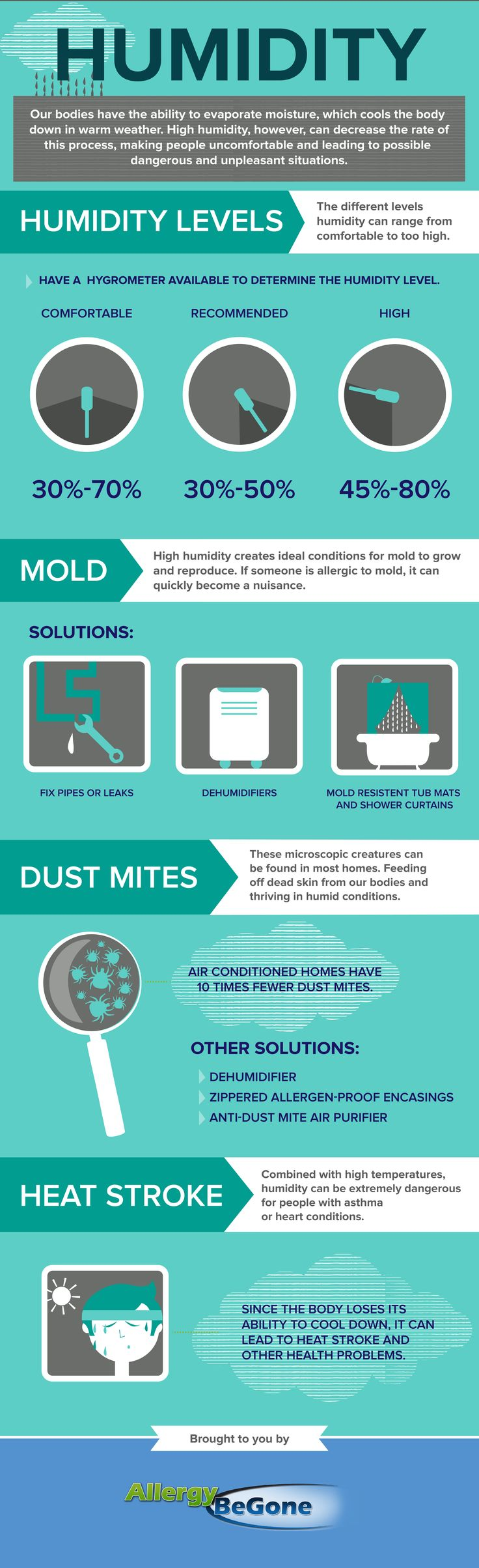 This infographic describes how humidity affects allergy sufferers and how to cope. #dustmites #mold #healthyhome