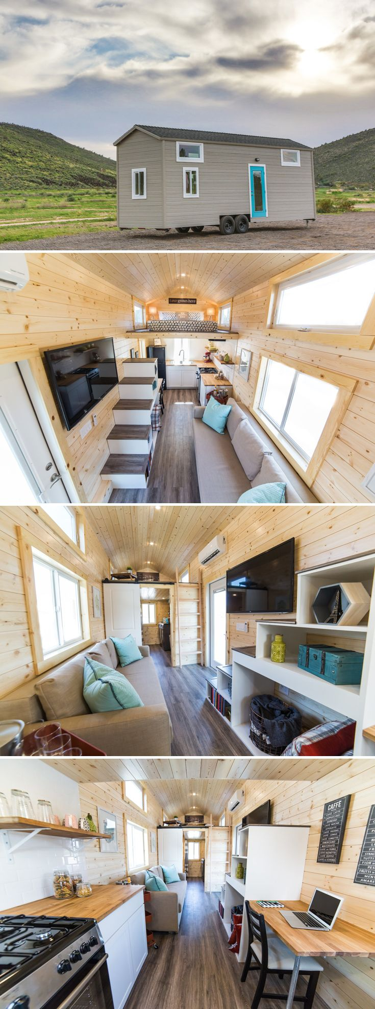 This 350-square-foot tiny house has a large kitchen with plentiful counter space, a four burner freestanding range, and an apartment size refrigerator.