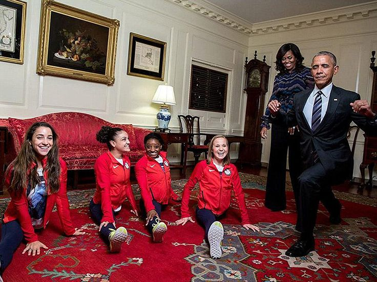 President Obama Tries the Splits with the Final Five as He Welcomes Team USA to the White House http://www.people.com/article/obama-welcomes-olympians-paralympians-white-house