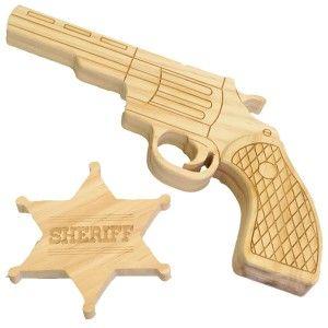 Pistolet et Etoile de Shériff en bois, mardi-gras, déguisement, maquillage, création, carnaval, déguiser, la fabrique du canari