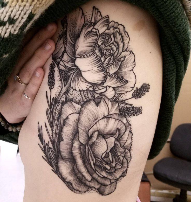 Blackwork flowers, healed, by Patrick Thomas (me) at Tattoo Lounge, Los Angeles, CA