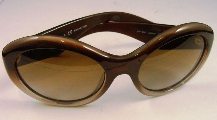 Prada SPR 30P PDM-6E1 Brown/Clear SPR30P Polarized Sunglasses #sunglasses #prada