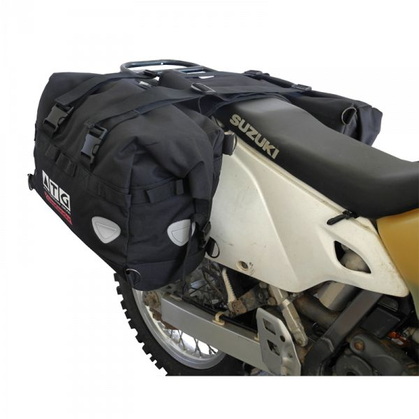 The ATG motorcycle Saddle-Bags are the right choice for adventure addicts, be it a weekend away or riding a demanding trip in a constant downpour.   Designed with simplicity and durability in mind, the outer shell provides all the protection against branches, accidents or whatever the demands of your  trip. 100% waterproof   The shape and size had to fit every bike from small enduro motorcycles to big tourers. We made sure the shape is not to wide or to high or low. suzuki drz400