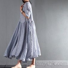 2016 blue striped linen summer maxi dresses layered plus size sundress casual style