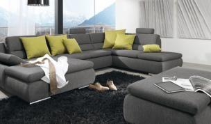 dreaming of a living romm like this! with a comfy grey sofa & nice green pillows. http://www.albero.sk/sedacie-supravy-a-kresla/vsetky-sedacky