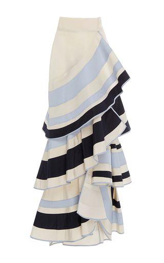 This **Johanna Ortiz** skirt features an a-line shape with a high rise waist.
