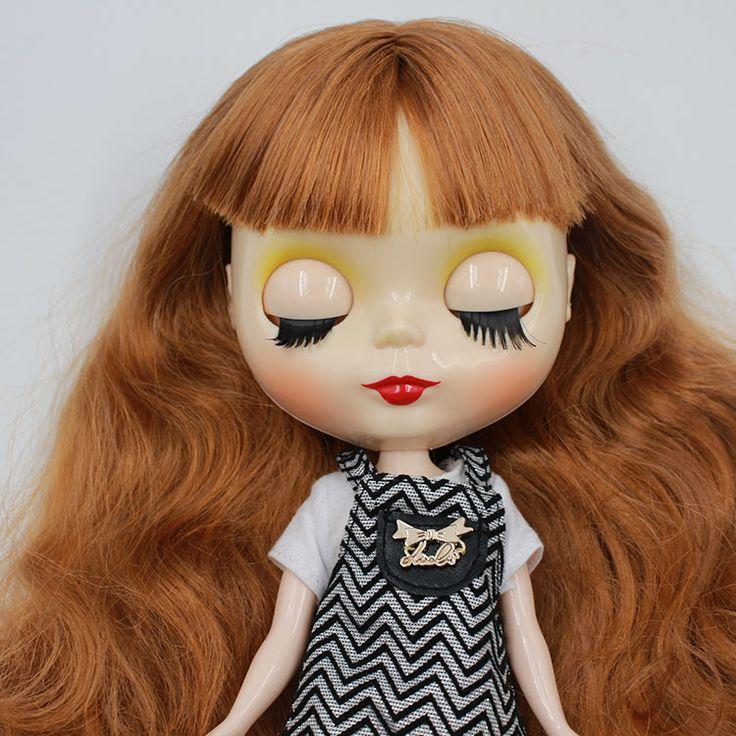 DayTakar Блит кукла ткани челка длинные коричневые волосы ню ребенка заменить их соединения для модификации