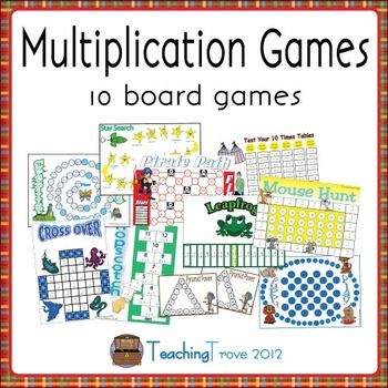 10 multiplication games designed to consolidate each individual multiplication fact from the 2 times table to 11 and 12 are included in this pack