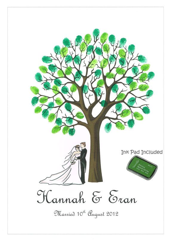 Personalised MOUNTED Wedding Fingerprint Tree with Bride & Groom (20 inch x 16 inch) - INK INCLUDED. £24.99, via Etsy.