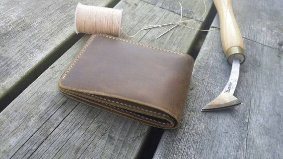 Distressed leather wallet by GonenLeather on Etsy