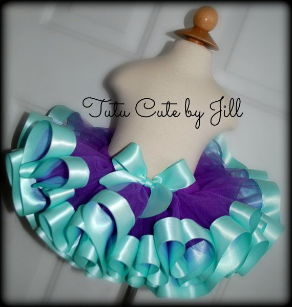 Sewn Purple Tutu With Aqua Satin Ribbon Trim.  Tutu Cute By Jill on Etsy