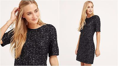 NEW OASIS BLACK SPARKLE SHIMMER SHIFT BOUCLE POPCORN DRESS 6 to 16 RRP £46