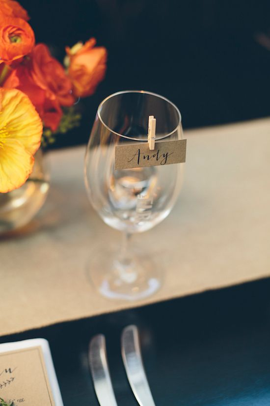 Mini clothespins to hold calligraphy cards. Urban Weddings.