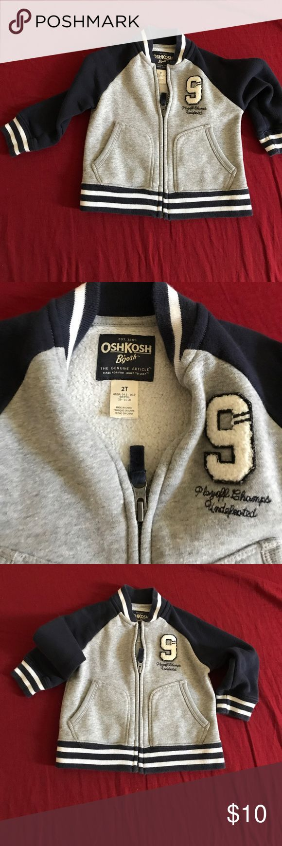 football Jacket for 2T boy Excellent condition football jacket for a boy. 80% Cotton, 20% polyester. Pair it with jeans and t shirt. Smoke free and pet free home. OshKosh B'gosh Jackets & Coats