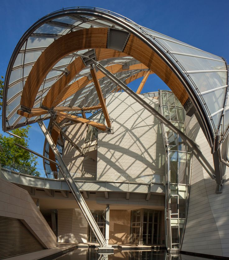 fondation louis vuitton by frank gehry in bois de boulogne park, paris