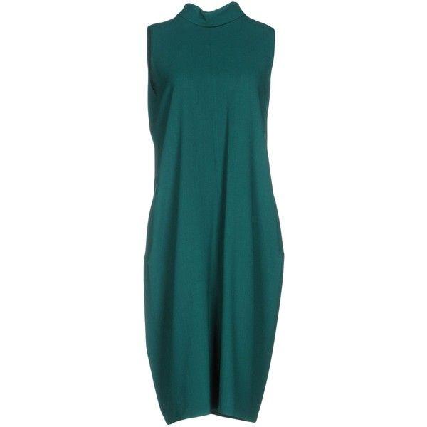 Maison Margiela Knee-length Dress ($950) ❤ liked on Polyvore featuring dresses, green, blue turtleneck, blue knee length dress, green turtleneck, sleeveless turtleneck top and green sleeveless dress