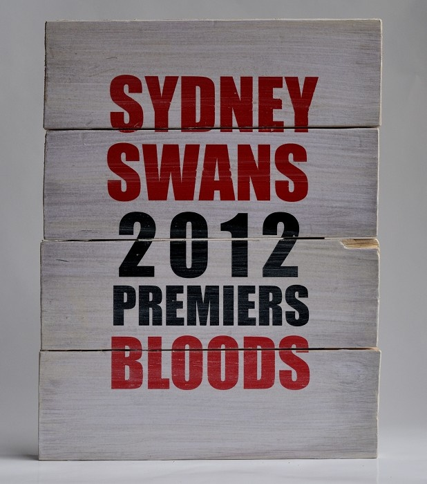 "Vintage inpsired AFL timber sign: ""Sydney Swans 2012 Premiers Bloods"" - by SimplyBoard on madeit"