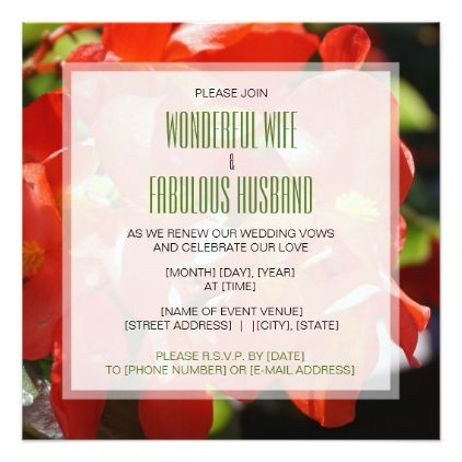 #Red Begonias  Wedding Vow Renewal Invitation - #weddinginvitations #wedding #invitations #party #card #cards #invitation #photo