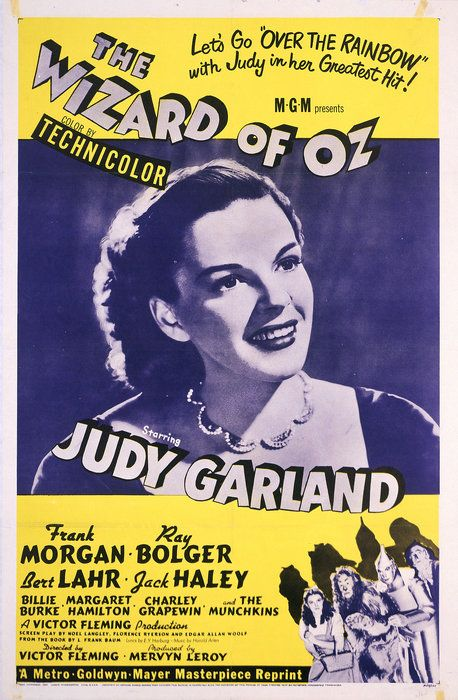 This 1955 reissue poster for THE WIZARD OF OZ plays up Judy Garland, who was hired to play Dorothy when she was only 15 years old. She becam...