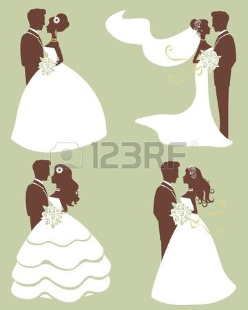Four wedding couples in silhouette Stock Vector_Wedding Cake_Wedding Rings