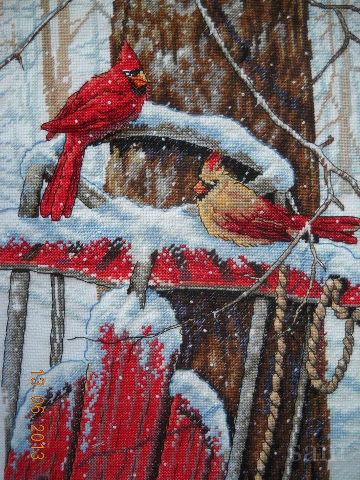 Схема для вышивания Дименшенс Кардиналы на санках / #Dimensions 08837 Cardinals on Sled    Забираем  тут https://yadi.sk/d/jG01vQmE33WctA    #stitchlike_dimensions, #новыйгод, #своимируками, #схемы_вышивки