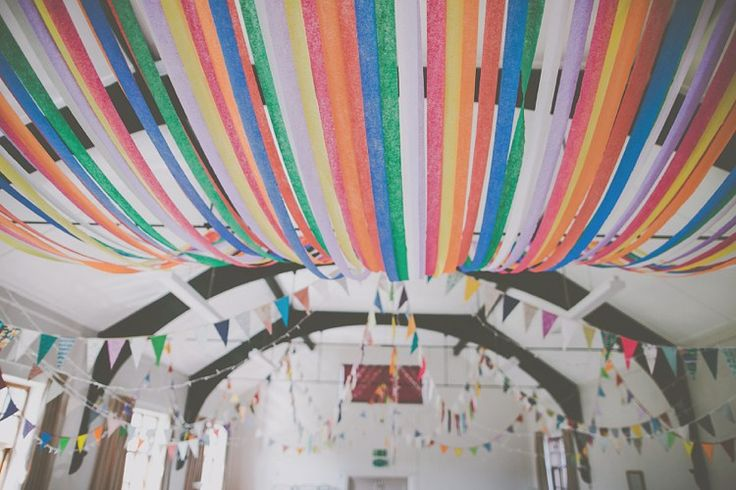 Rainbow Bunting Crepe Paper Streamers Crafty Colourful Village Hall Wedding http://jamesmelia.com/