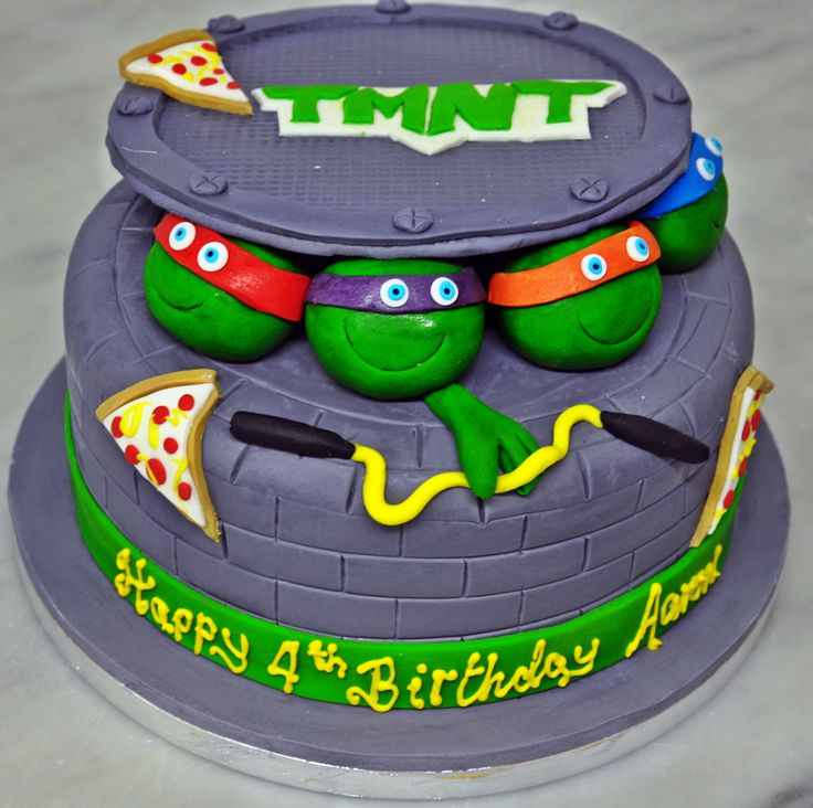 Teenage Mutant Ninja Turtles, Turtles in a half shell TURTLE POWER!! #irishbaking #sugarcraft #bespokecake #sugarpaste #cartoons #specialoccasion #birthday cake