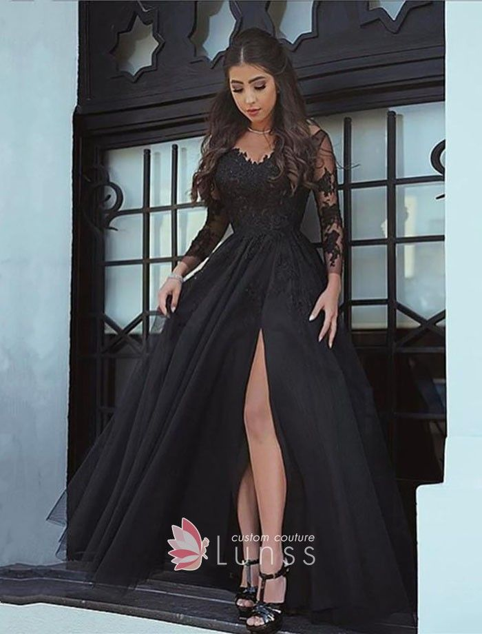 f8fd37946d1bb Black Lace Sheer Long Sleeve Thigh-high Slit Tulle Prom Gown in 2019 ...