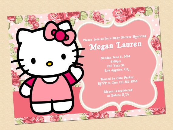 Hello Kitty Baby Shower Invitation With Diaper By Graphicsmarket, $10.00