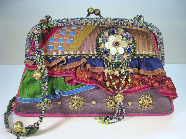 Retired Vintage Mary Frances Purple Themed Heavily Beaded Handbag Purse Pinterest Shoulder Handbagary