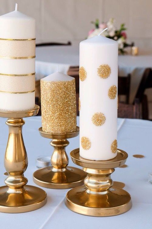 Gold and White Pillar Candles