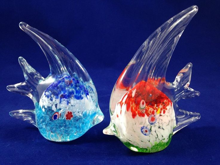 Collectible set vintage italian murano art glass fish for Murano glass fish