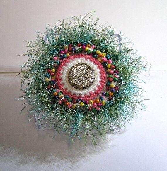 HANDMADE PONYTAIL HOLDER crochet beaded wooden by rankaswedding