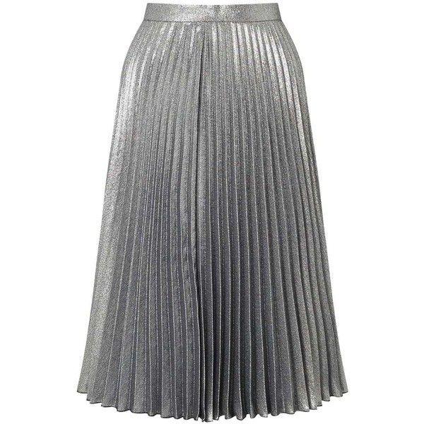 Miss Selfridge Metallic Pleated Skirt (£71) ❤ liked on Polyvore featuring skirts, bottoms, saias, silver metal, knee length pleated skirt, metallic pleated skirts, pleated skirt, party skirts and sparkle skirts